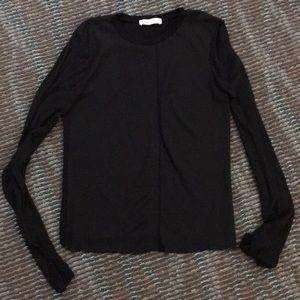 Zara knit black raw hem long sleeve top Medium